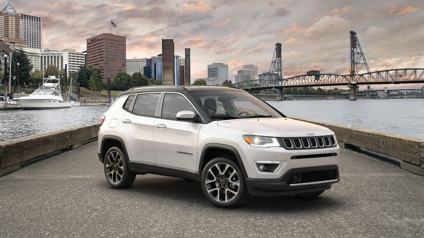 2020 Jeep Compass Front View White Exterior Picture